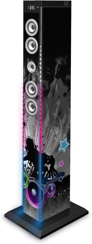 BigBen TW9DJLIGHT3 - Torre de Sonido Bluetooth Leds DJ (2.1, 2x15Watts RMS + Subwoofer 30W RMS)