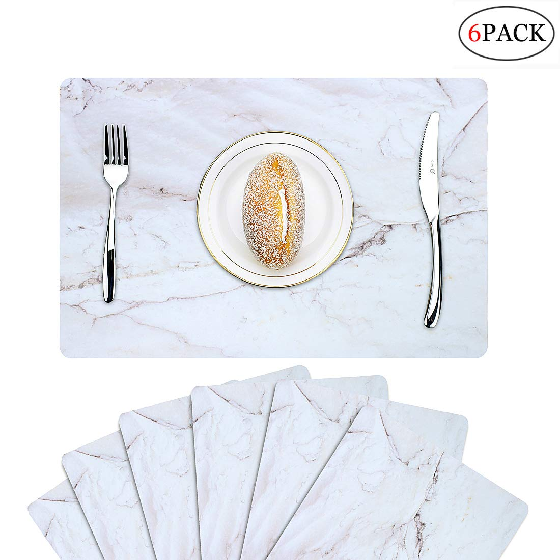 Menghao 6 PCS Waterproof Placemats Environmental Materials Multiple Styles Easy Clean for Kids Educational Learning Kitchen Dinner Party((Marble)