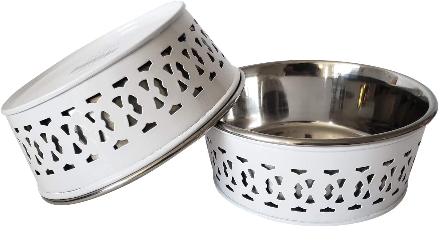 American Pet Supplies Modern Farmhouse Bowl, Set of 2 Deep Feeder Bowls for Puppies and Dogs, 16 Oz Each, White