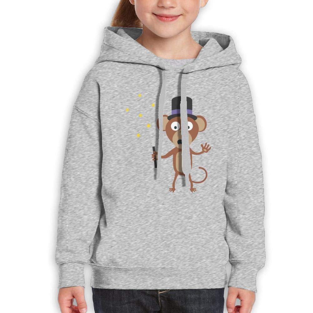 Qiop Nee Cute Magician Monkey Kids Hooded Print Long Sleeve Sweatshirts Girl