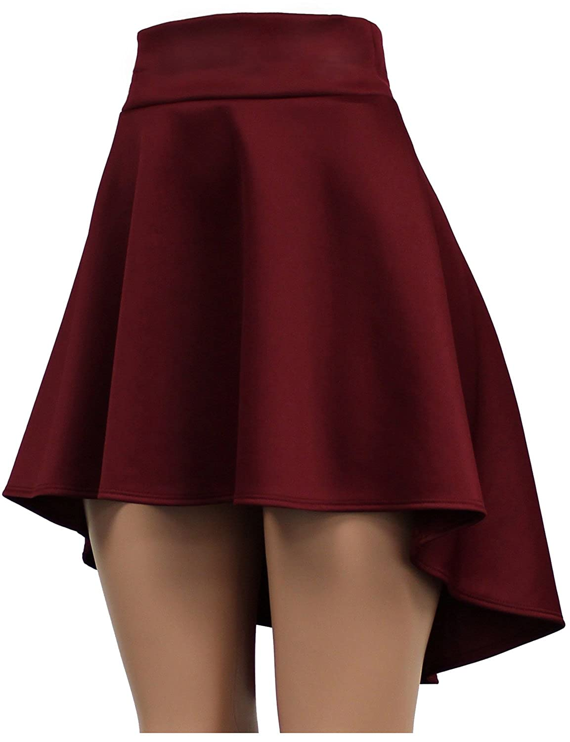 BEKTOME Womens Solid High Low Flare Skater Skirt