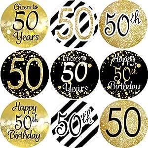 Outus 432 Piezas de 50 Pegatinas de Cumpleaños 50 Etiquetas ...