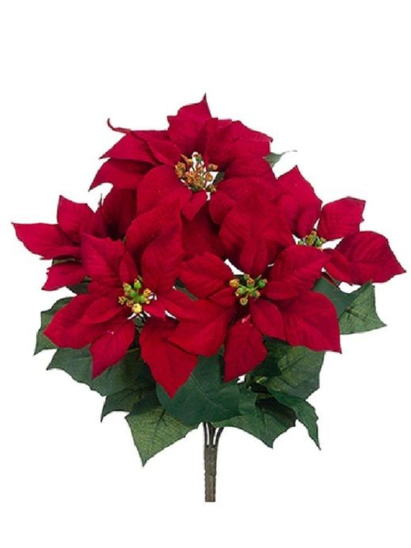 17'' Artificial Velvet Poinsettia Bush Red (Pack of 12) Silk Flower Plant Decor