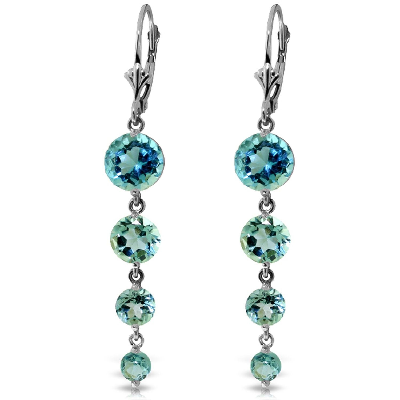 ALARRI 7.8 CTW 14K Solid White Gold Remeberance Of Love Past Blue Topaz Earrings