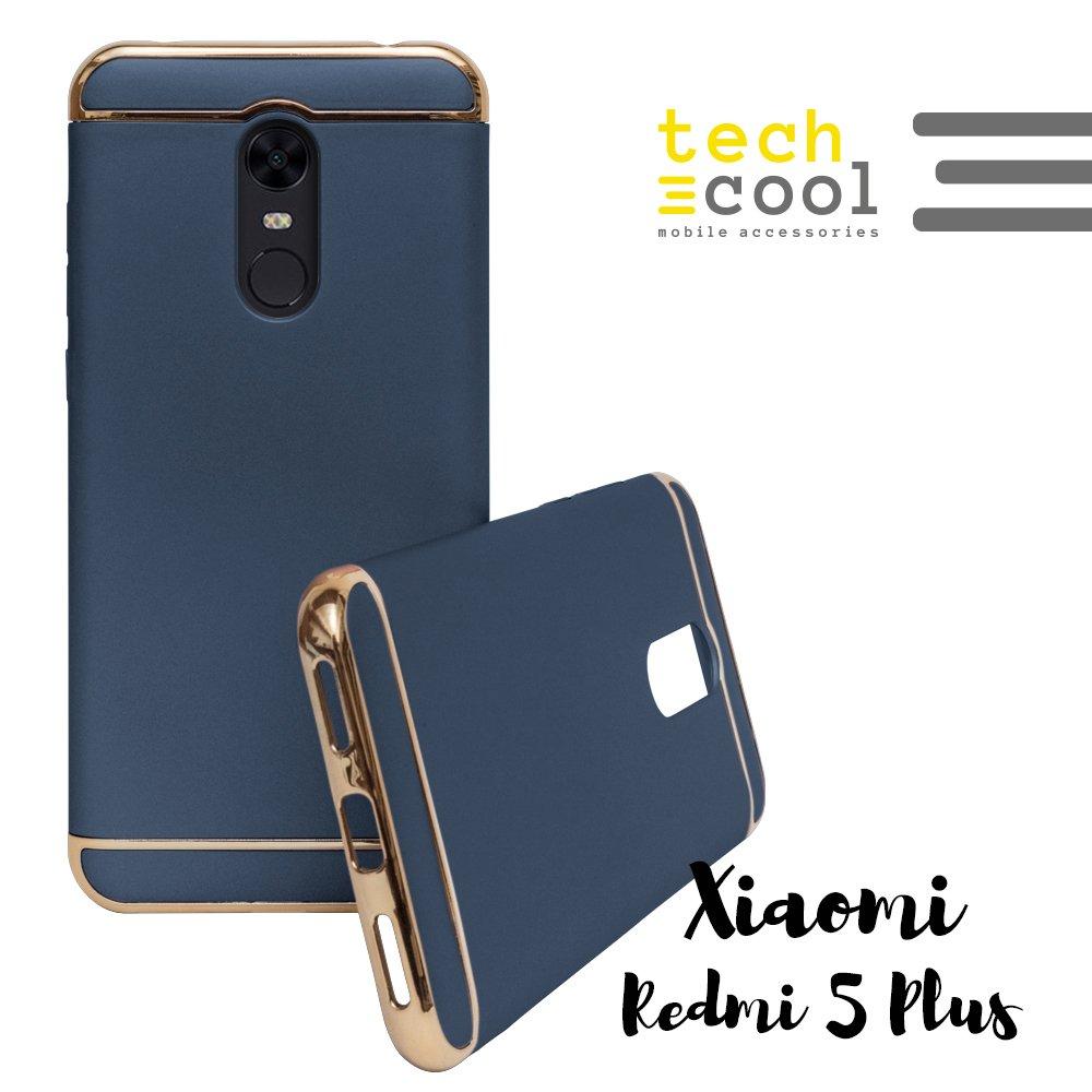 Funda Xiaomi Redmi 5 Plus / Xiaomi Redmi Note 5 [Color - Azul Marino ] TechCool® I Carcasa Funda Diseño 3 Piezas Metal Tacto Suave I Fabricada en PC Alta Calidad y Resistencia [Fina y Ligera - Refuerzo en Esquinas para Mayor Protección] - Serie Plated Rub