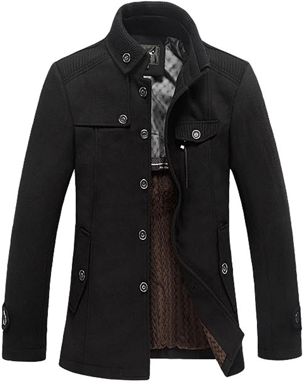 chouyatou Mens Stand Collar Wool Blend Single Breasted Pea Coat Fleece Lined