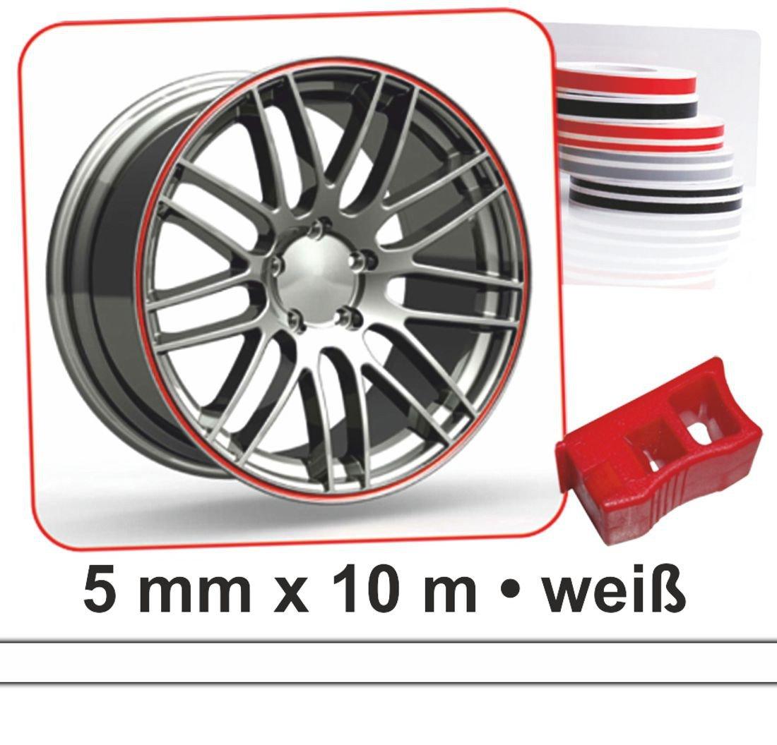 Bandes dé co Wheel-Stripes pour les jantes de la voiture blanc 5 mm x 10 m carstyling XXL