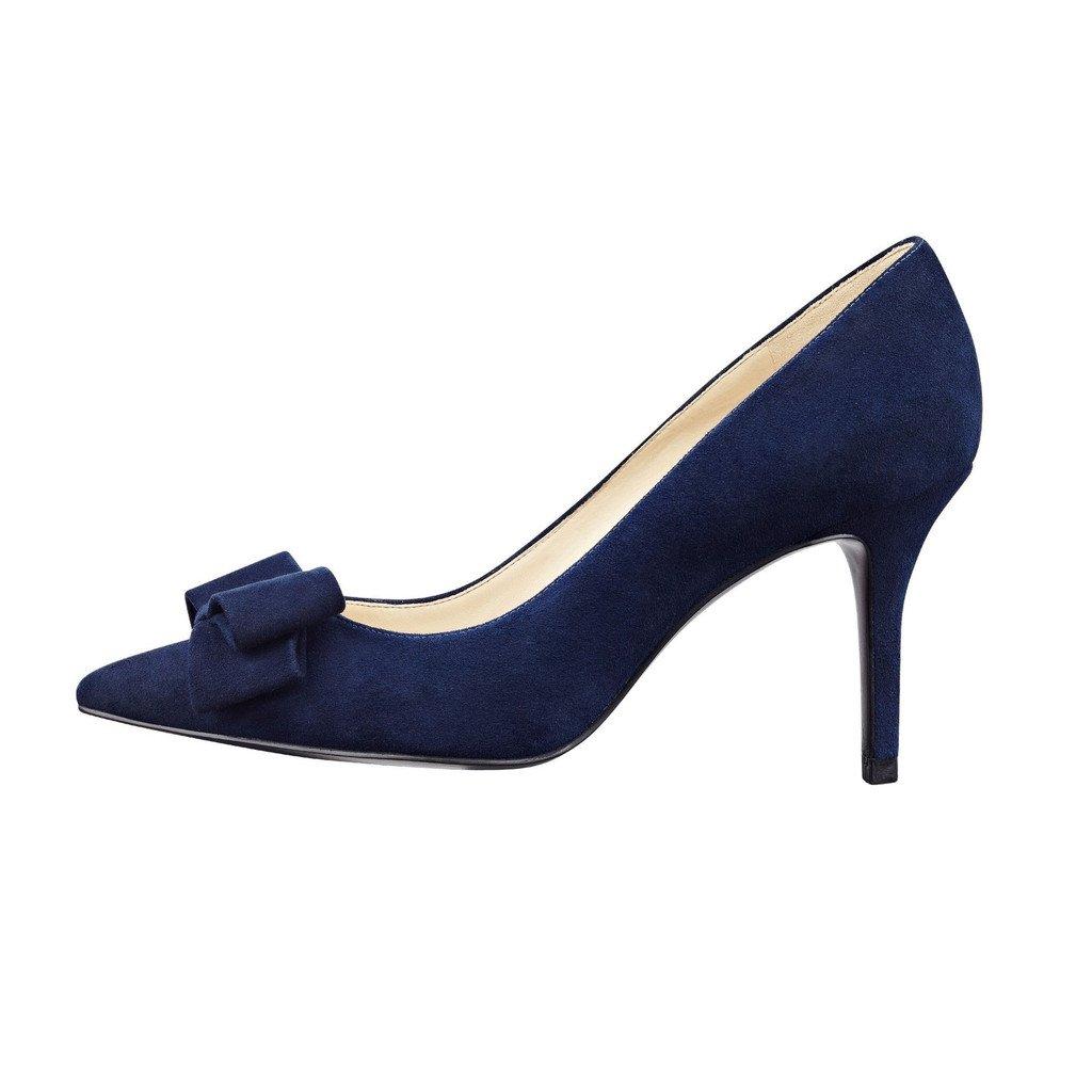 Kolnoo 80mm Damen Suede Suede Suede Stiletto Spitzschuh Pumps mit Klassiche Bowknot Schuhe 8137d5