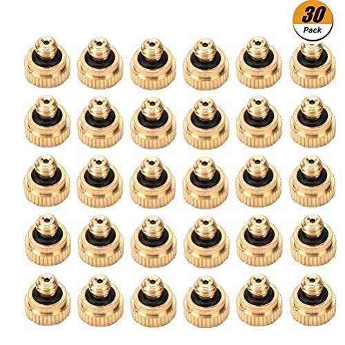 WarmShine 30 Pieces Brass Misting Nozzles Garden Spray Misting Nozzle for Landscaping, Cooling, Garden watering System, 0.012¡± Orifice (0.3 mm), 3/16 UNC
