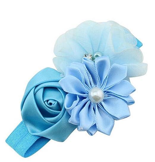 693f6480dbfad9 ZEZKT-Girl Baby Mädchen Kinder Stretch Stirnbänder Haarbänder Elastisches  Perlen Blumen Kopftuch Hasenohren Kopftuch Blumen