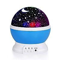 Kids Star Night Light, 360-Degree Rotating Star Projector, Desk Lamp 4 LEDs 8 Colors...