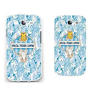 Customized Cute Hard Plastic Back Phone Case Cover for Samsung Galaxy S3 I9300 with Quotes Animal Shape Pattern Print Case Skin (BY264: cat mouse blue) WANGJING JINDA