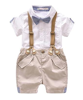 2e96ad9e5 Bebé NiñO Camisa De Manga Larga + Pantalones Cortos De Tirantes Conjunto De  Caballeros De Verano Con Caballero Bowtie  Amazon.es  Ropa y accesorios