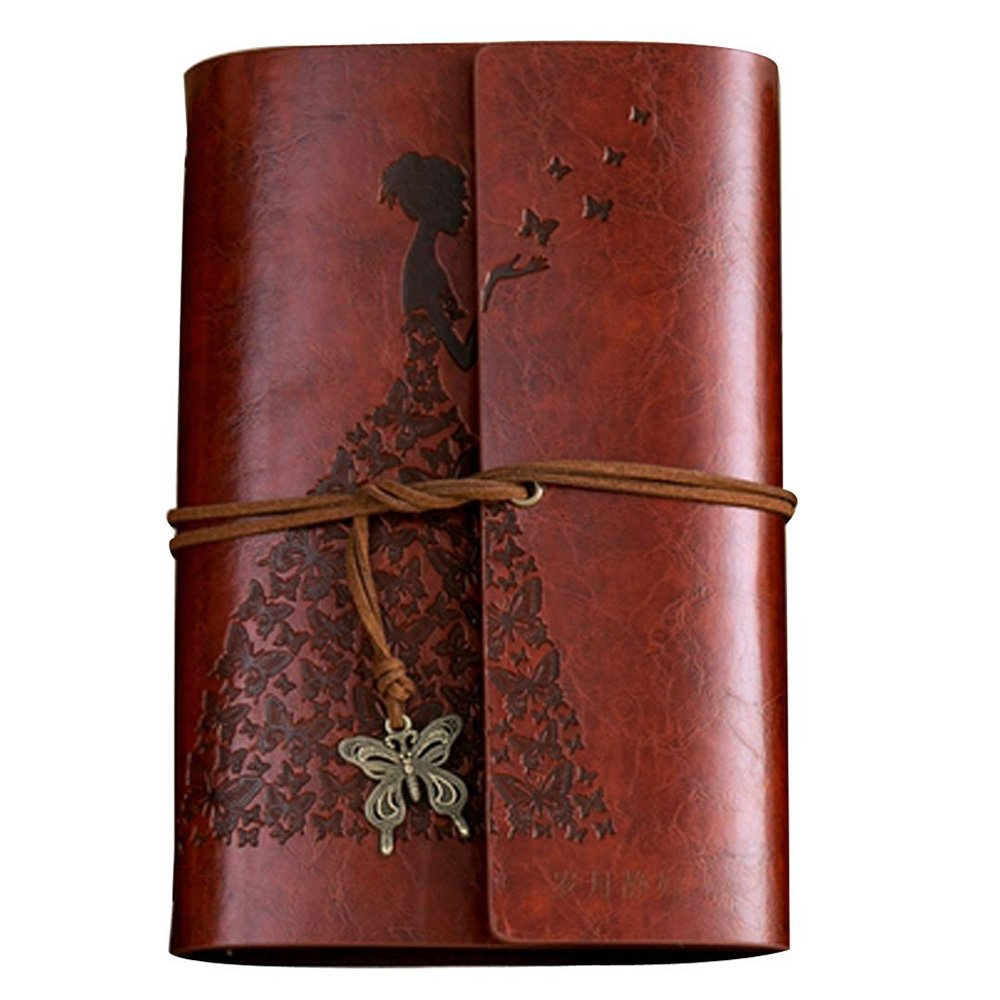 Leather Journal Refillable Notebook Premium Retro Spiral Notebook Classic Binder Vintage Embossed Travelers Journal for Art Sketch Travel Diary and Journal Records (Dark Brown)