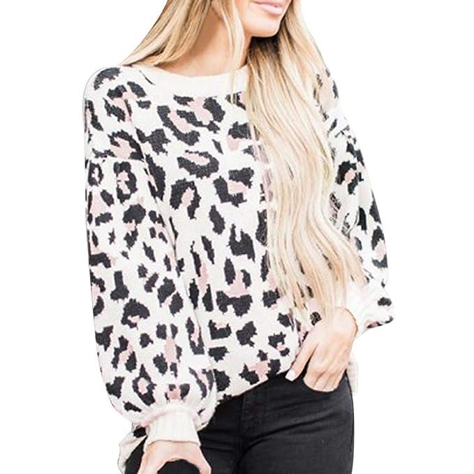 Sylar Sudaderas Mujer Invierno 2018 Cuello Redondo Manga Larga Estampado De Leopardo Caliente Jersey Grueso Abrigo Moda Pullover Outwear: Amazon.es: Ropa y ...