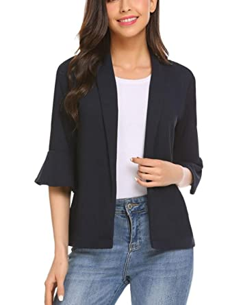 20cd31d8042 Women Casual Open Front Blazer V-Neck Flare 3 4 Sleeve Solid OL Jacket