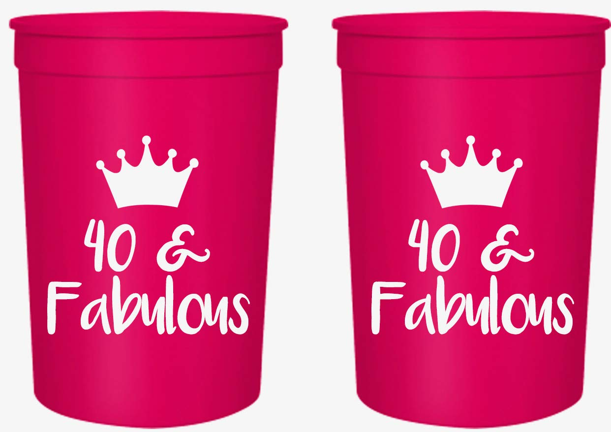 40 and Fabulous 40th Birthday Party Cups, Set of 12, 16oz Pink and White 40th Birthday Stadium Cups, Perfect for Birthday Parties, Birthday Decorations!