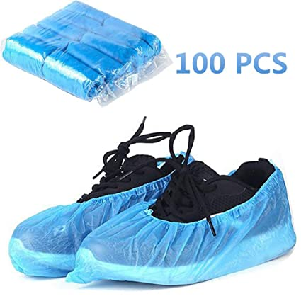 Clocks 50 Pairs Blue Color Disposable Waterproof Plastic Shoe Boot Cover Factory Direct Selling Price