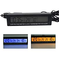 ORETG45 Medidor Voltaje 3 en 1 Noctilucence Interior Fácil Instalar Exterior Termómetro automático Dos Tonos Mini…