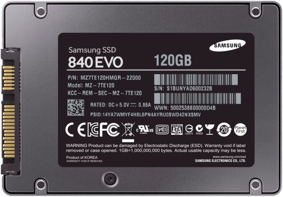 Samsung 840 EVO - Disco Duro sólido Interno SSD de 120 GB (Memoria ...