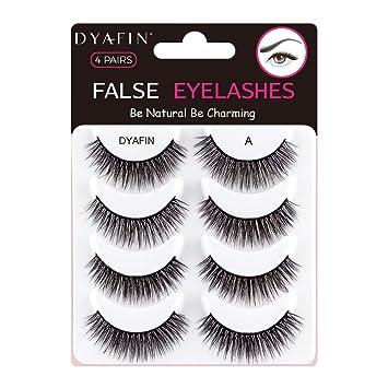 8e11d6d867e DYAFIN Natural 3D False Eyelashes Multipack Handmade Fake Eyelashes  Lightweight False Lashes Natural Looking Full Cover