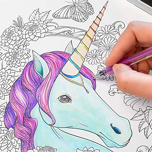 ColorIt 48 Glitter Gel Pens For Adult Coloring Books - New Glitter Colors Metallics Neons, Gel Pens with Case and 48 Matching Ink Refills For 96 Total Glitter Pack by ColorIt (Image #4)