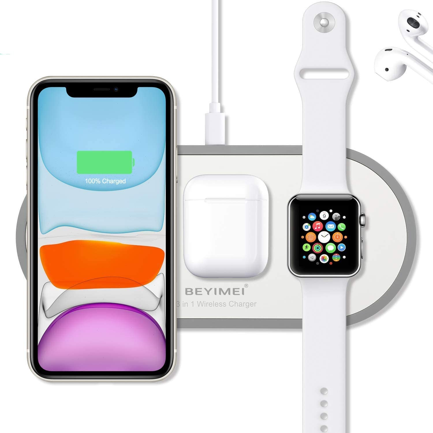 BEYIMEI Wireless Charger, 3 in 1 Qi-Certified Fast Wireless Charging Pad for Apple Watch Series 5/4/3/2/1,Airpods 2.0, Compatible with iPhone 11 Pro Max/XS Max/XR/XS/X / 8/8 Plus