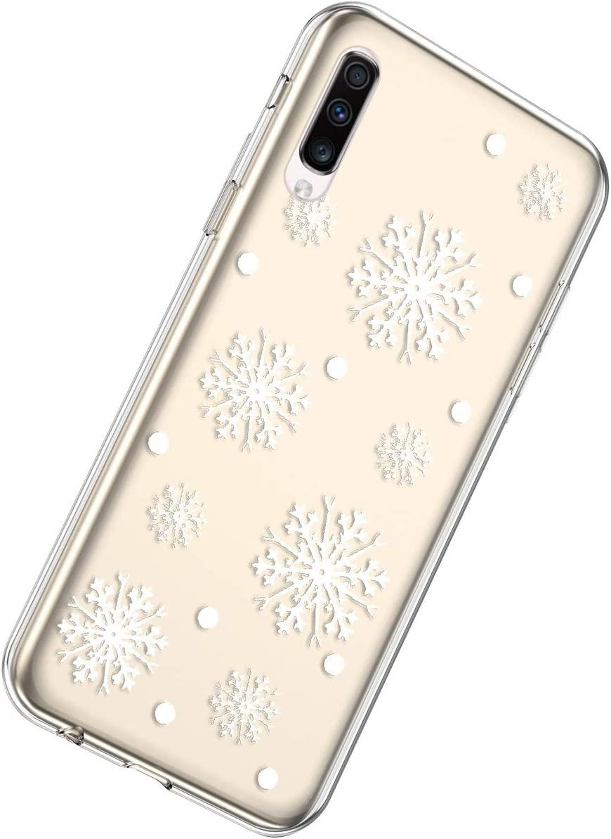 Herbests Compatible with Samsung Galaxy A50 Case Clear with Christmas Snowflakes Xmas Design Transparent Crystal Soft TPU Gel Rubber Silicone Protective Cover,Christmas Snowflake