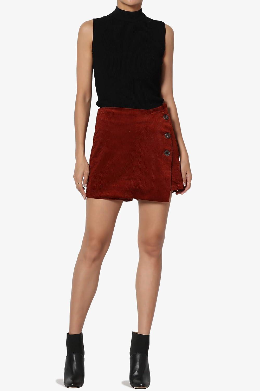 TheMogan Petite Plaid High Waist Button Detail Wrap Skirt Overlay Shorts Skort