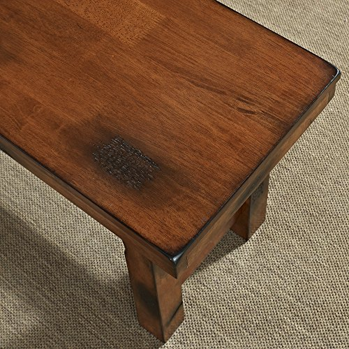 WE Furniture Solid Wood Dark Oak Dining Bench
