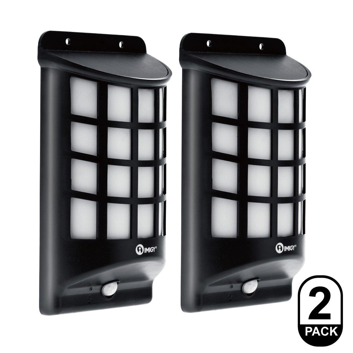 IMIGY Solar Lights, IP65 Waterproof Outdoor Wall Lights, Dark Sensor Auto On/Off Solar Powered Wall Mounted Night Light Lattice Design for Garden Pathway Door Patio Deck Yard Driveway (2 Pack)