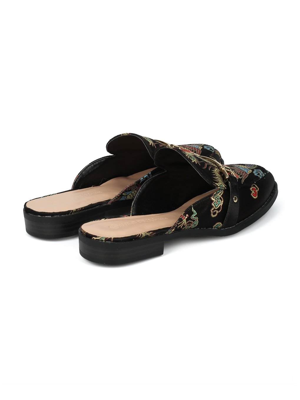 Alrisco Women Satin Brocade Phoenix Horsebit Loafer Slide HF84 - Black Satin (Size: 6.5) by Alrisco (Image #3)