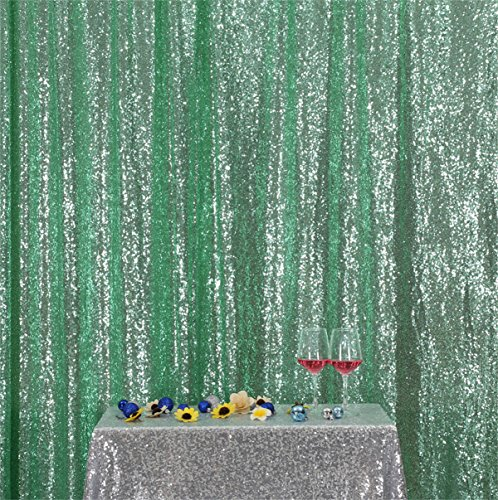 Eternal Beauty Mint Green Sequin Wedding Backdrop Photography Background Party Curtain, 4Ft X 6.5Ft