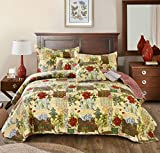 Tache Festive Floral Reversible Bedspread - the Holly and the Ivy Patchwork Quilted Coverlet Bedding Set - Bright Vibrant Multi Colorful Beige Red Green Poinsettia Print - King - 3-Pieces