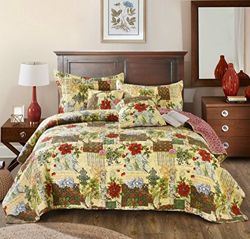 Tache Festive Floral Reversible Bedspread - the Holly and the Ivy Patchwork Quilted Coverlet Bedding Set - Bright Vibrant Multi Colorful Beige Red Green Poinsettia Print - King - 3-Pieces (Christmas Bedspreads)