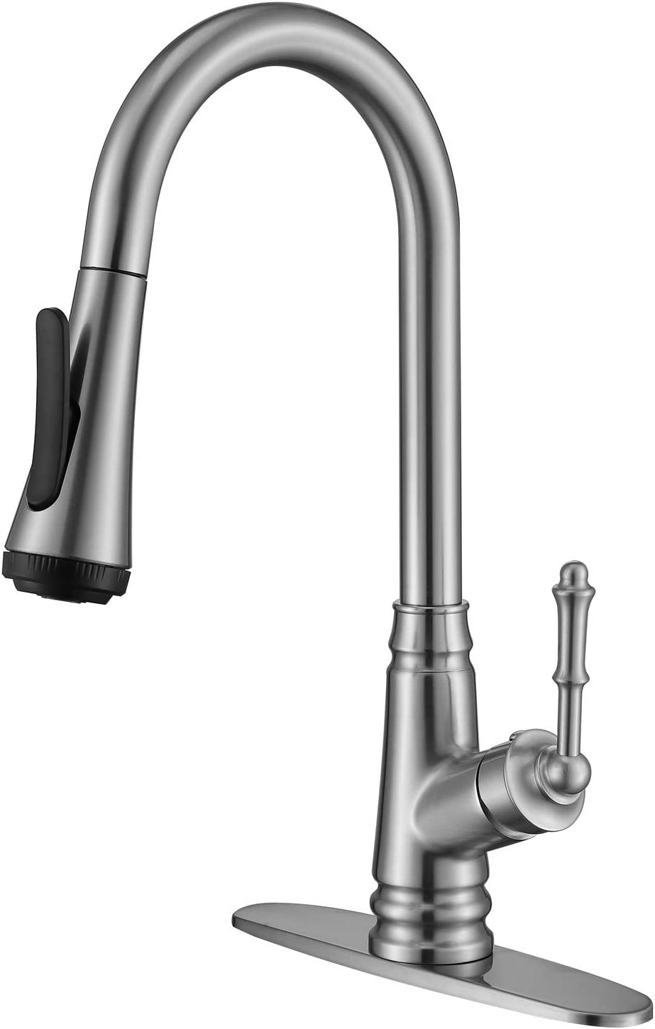 Auktopt Kitchen Sink Faucet With Pull Down Sprayer Brushed Nickel Single Handle Pullout Spray With Deck Plate Amazon Com