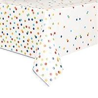 Unique Party Rainbow Polka Dot Plastic Tablecloth, 7ft x 4.5ft