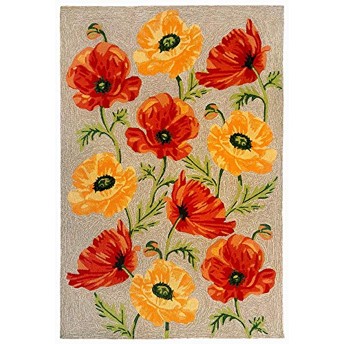 - Liora Manne RVL57227212 2272/12 NEUT Ravella Casual Icelandic Poppies Indoor/Outdoor Rug, 5' X 7'6