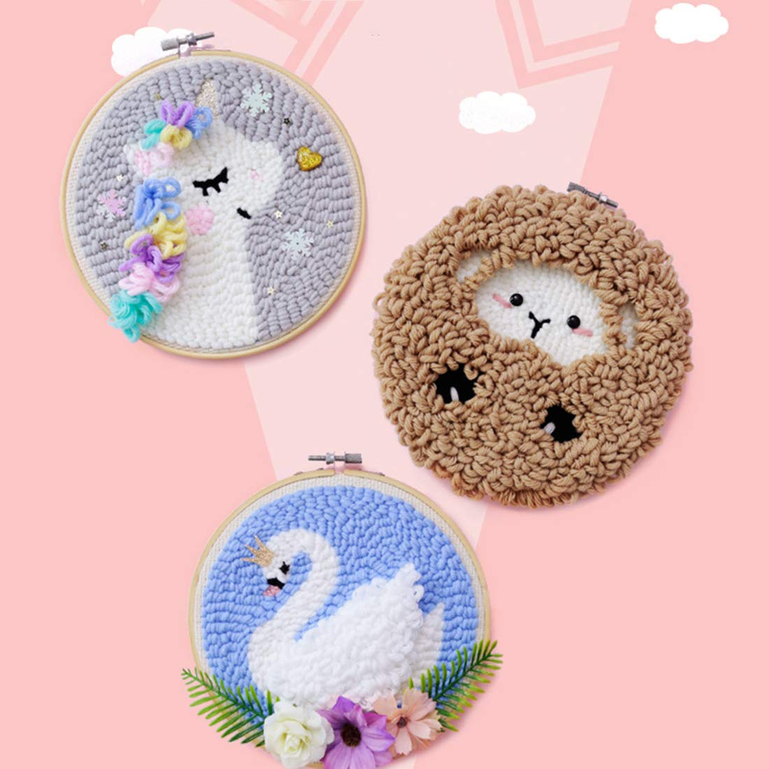 Embroidery Frame Creative Gift with 20 x 20cm Embroidery Frame Punch Needle Lamb HMANE DIY Rug Hooking Kit Handcraft Woolen Embroidery Knitting with Punch Needle