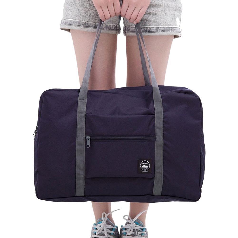 Unisex Foldable Travel Bag Solid Color Waterproof Shopping Shoulder Bag Tote
