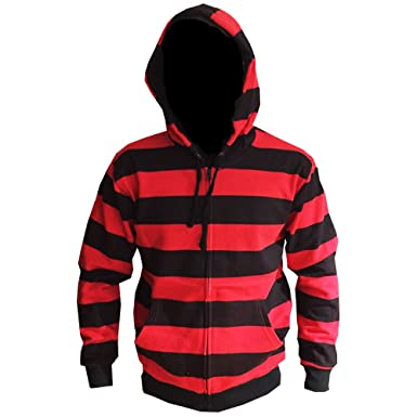 Givenchy Men's black, red and white Givenchy long sleeve hoodie featuring striped print throughout, star accents at sleeves, dual slit pockets at sides, mesh hood at back and silver-tone zip closure at front.