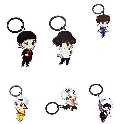 BTS – Llavero con Diseño de Oso con Dibujos Animados BTS FanceEast KPOP Hot Gift, 7 Piezas/Set, B