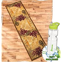 Gift Included- Vineyard Themed Decorative Kitchen Jute Accent Rug Runner Area Carpet Decor + FREE Bonus 23 oz Water Bottle byHomecricket (Runner, 22 x 86)