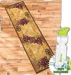 Gift Included- Vineyard Themed Decorative Kitchen Jute Accent Rug Runner Area Carpet Decor + FREE Bonus 23 oz Water Bottle byHomecricket (Runner, 22\