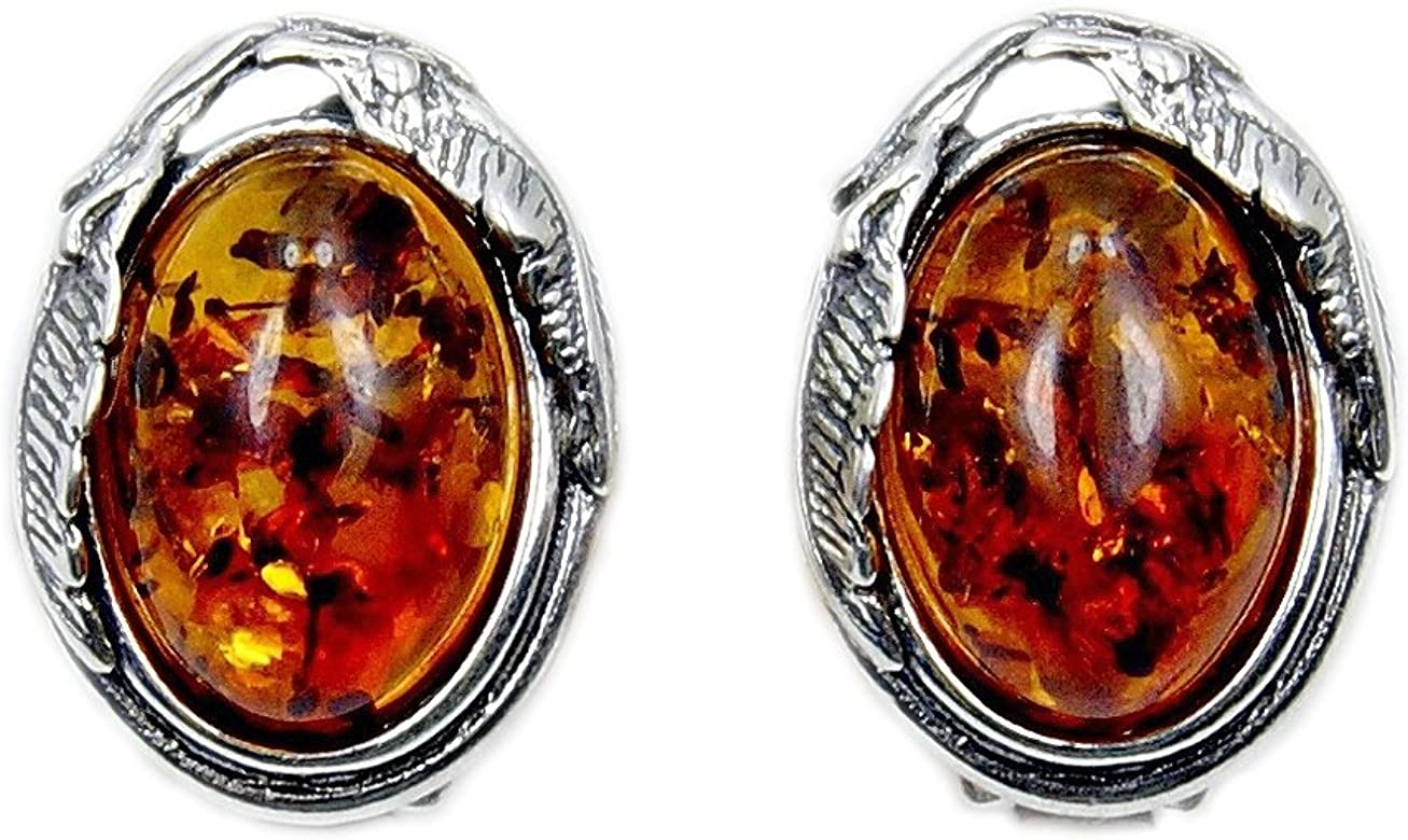 925 Sterling Silver Stud Earrings Rose with Cognac Genuine Natural Baltic Amber