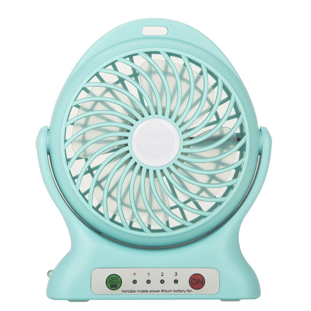 Beanhark Portable Fan, Mini Usb Rechargeable Fan with 2000mAh Power Bank and Flashlight,Cooler Cooling Desktop Fan Mini.for Traveling,Fishing,Camping,Hiking,Backpacking,Baby Stroller (Blue)
