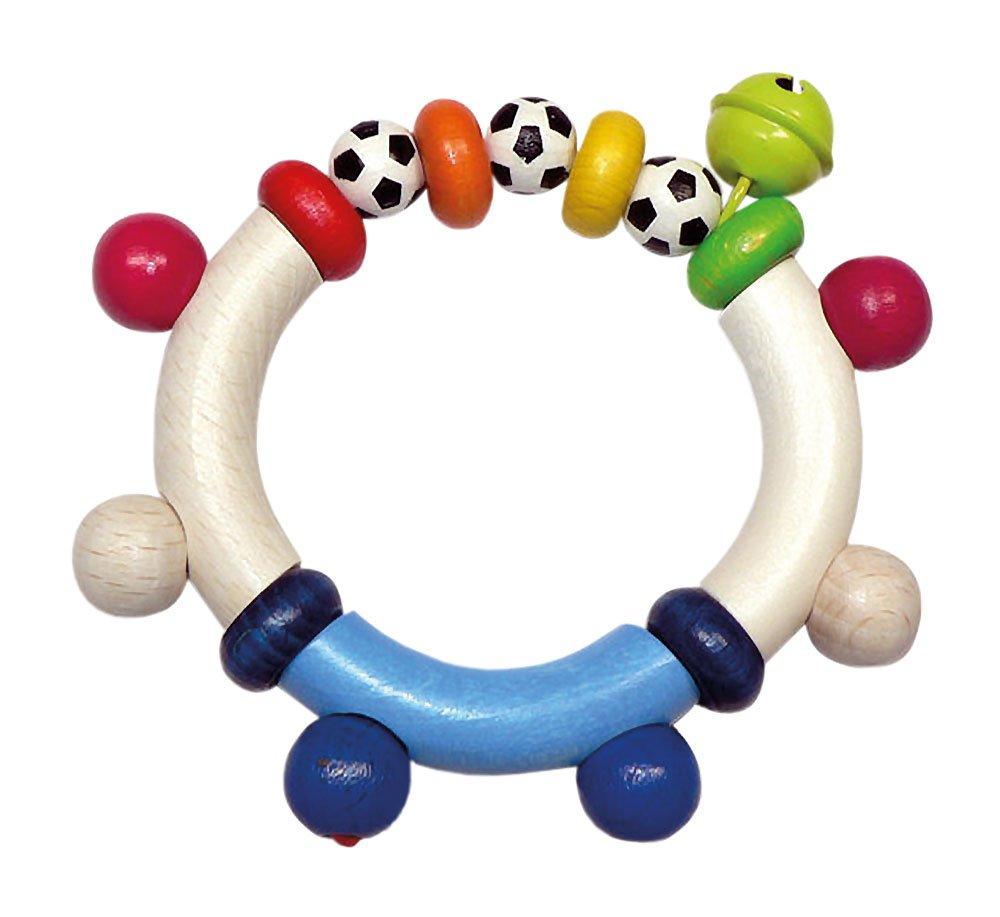 Hess 13685 - Cadena de madera de clip para chupete, diseño muchacho del fútbol
