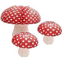 JVSISM 3Pcs Mushroom Shaped Paper Lanterns for Forest Jungle Wonderland Theme Birthday Party Decor Hanging 3D Mushroom…