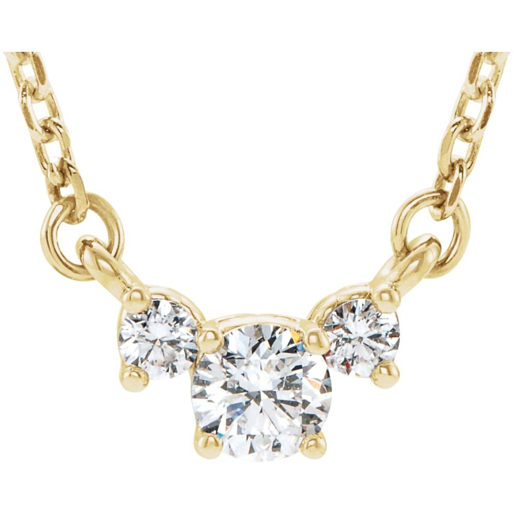 Jewels By Lux 14K Yellow Gold 1/3 CTW Diamond Three-Stone 16-18'' Necklace