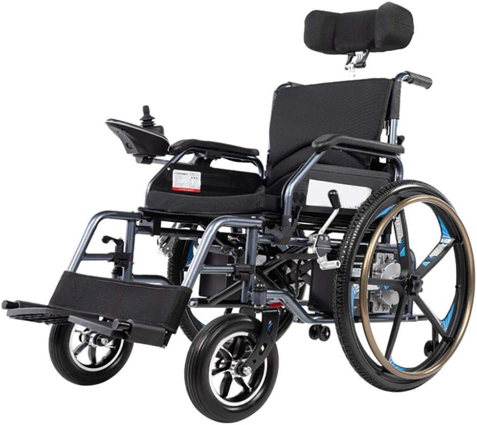 BR Silla de Ruedas Eléctrica Plegable para Discapacitados Carro Plegable Antiguo Deshabilitado Scooter Capacidad de Acción Compensatoria Ajuste de Modo Dual,12alithiumbattery